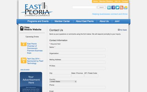Screenshot of Contact Page epcc.org - Contact Us - East Peoria Chamber of Commerce - captured Oct. 1, 2014