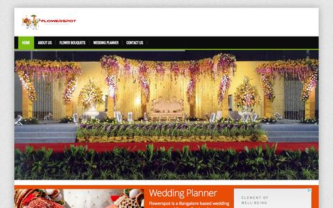 Screenshot of Home Page flowerspot.in - Wedding Planner Bangalore | Dream Weddings | flowerSpot - captured Sept. 23, 2014