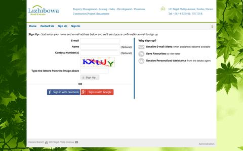 Screenshot of Signup Page lizhibowa.co.zw - Sign Up - captured Oct. 2, 2014