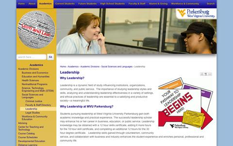 Screenshot of Team Page wvup.edu - Leadership | WVU Parkersburg - captured Sept. 22, 2014