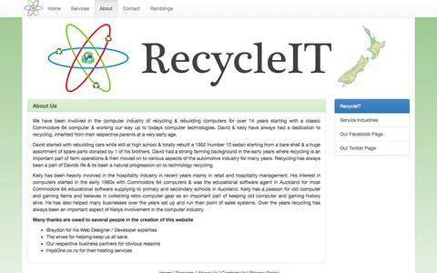 Screenshot of About Page recycleit.co.nz - About —  RecycleIT - captured Oct. 7, 2014
