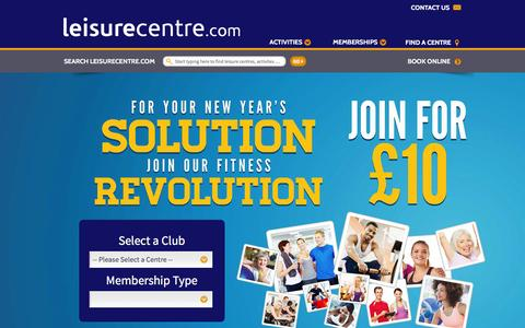 Screenshot of Home Page leisurecentre.com - Gyms | Swimming Pools | Sports Facilities |Aerobics | UK - LeisureCentre.com - captured Jan. 17, 2016