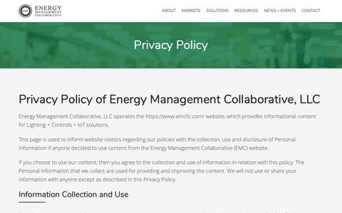 Screenshot of Privacy Page emcllc.com - Privacy Policy :: Energy Management Collaborative, LLC - captured Nov. 6, 2018