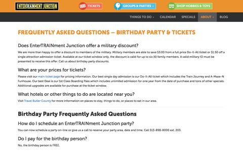 Screenshot of FAQ Page entertrainmentjunction.com - Frequently Asked Questions - Birthday Party & Tickets   Entertrainment Junction - captured July 13, 2018