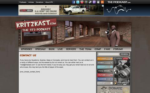 Screenshot of Contact Page kritzkast.com - Kritzkast - captured Sept. 30, 2014