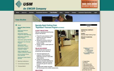 Screenshot of Case Studies Page usmservices.com - Commercial Janitorial Services & Property Management Services | USM - captured Oct. 8, 2014