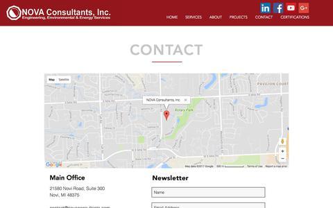 Screenshot of Contact Page novaconsultants.com - NOVA Consultants Contact Page - captured Oct. 22, 2017