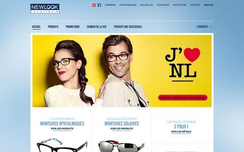 Screenshot of Home Page newlook.ca - Lunetterie New Look | Lunettes, montures & verres de contact de tous styles - captured Oct. 3, 2014