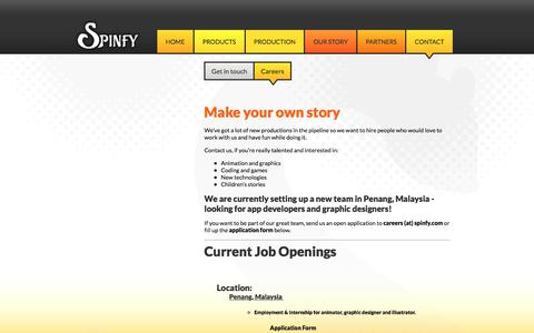 Screenshot of Jobs Page spinfy.com - Careers - Spinfy - quality content for kids with smart parents! - captured Oct. 23, 2017