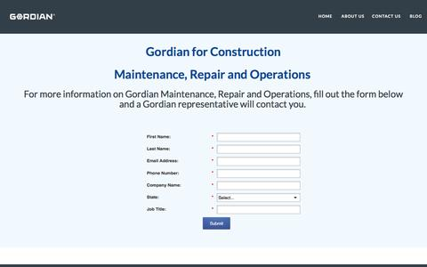 Screenshot of Landing Page thegordiangroup.com - Maintenance Repair and Operations I Gordian for Operations - captured July 19, 2016