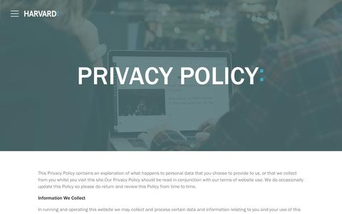 Screenshot of Privacy Page harvard.co.uk - Privacy policy | Harvard - tech communications agency - captured Sept. 27, 2018