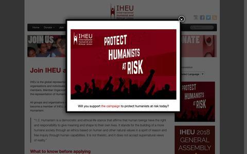 Screenshot of Signup Page iheu.org - Join IHEU as a Member Organization   IHEU - captured Sept. 28, 2018