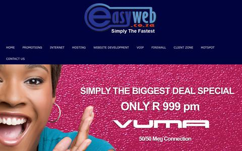Screenshot of Signup Page easyweb.co.za - Easyweb Internet PROMOTIONS - captured Sept. 27, 2018