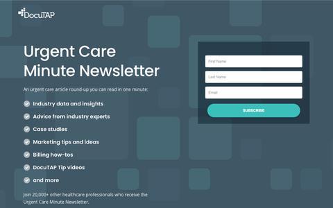 Screenshot of Signup Page docutap.com - Urgent Care Minute Newsletter - DocuTAP - captured Feb. 22, 2019