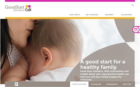 Screenshot of Home Page goodstartgenetics.com - Genetic Carrier Screening and Counseling | Good Start Genetics - captured July 4, 2016