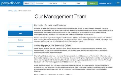 Screenshot of Team Page peoplefinders.com - PeopleFinders Management Team - captured July 18, 2019