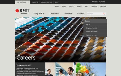 Screenshot of Jobs Page rmit.edu.au - Careers - RMIT University - captured Sept. 21, 2018