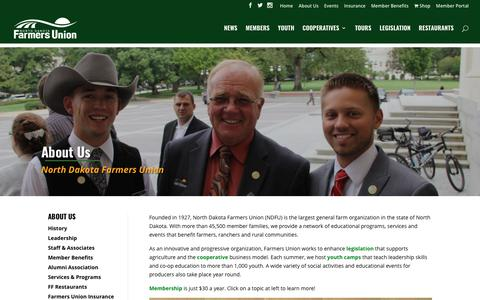 Screenshot of About Page ndfu.org - About Us | North Dakota Farmers Union - captured Oct. 26, 2017