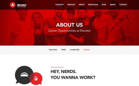 Screenshot of Jobs Page elevatoragency.com - Careers at Elevator, a Digital Marketing Agency in San Diego - captured July 17, 2018