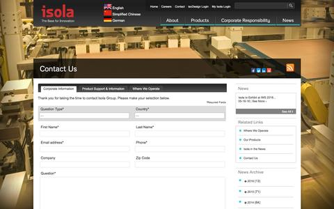 Screenshot of Contact Page isola-group.com - » Contact Us - captured Aug. 6, 2016