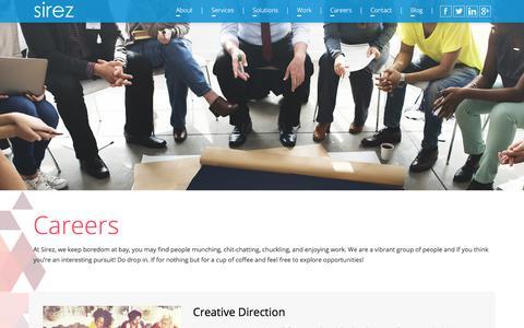 Screenshot of Jobs Page sirez.com - Sirez: Careers - captured Jan. 16, 2018
