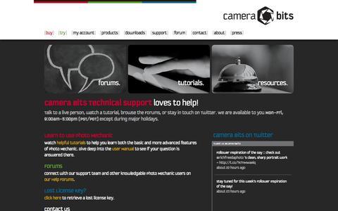 Screenshot of Support Page camerabits.com - Support | Camera Bits, Inc. - captured Sept. 19, 2014