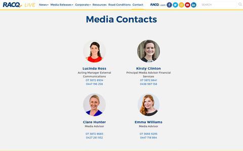 Screenshot of Press Page racq.com.au - RACQ Live | Media Contacts - captured Sept. 24, 2018