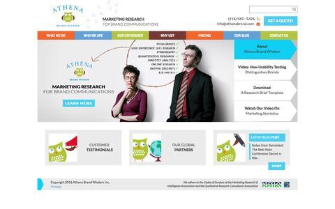 Screenshot of Home Page athenabrand.com - Home - Athena Brand Wisdom - captured Nov. 21, 2016