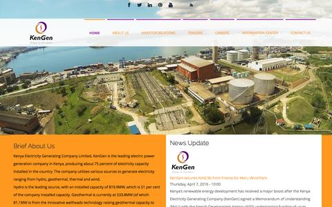Screenshot of Home Page kengen.co.ke - Welcome to KENGEN | KENGEN - captured Nov. 27, 2016