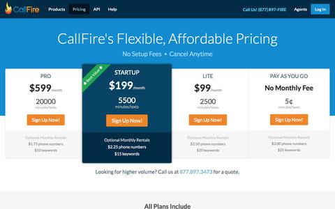 Screenshot of Pricing Page callfire.com - Pricing on Call Tracking, SMS Text Messaging, IVR & More | CallFire - captured June 16, 2015