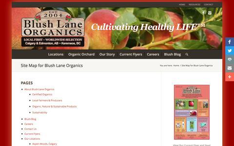 Screenshot of Site Map Page blushlane.com - Site Map for Blush Lane Organics - captured Nov. 22, 2016