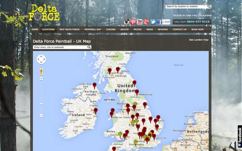 Screenshot of Locations Page paintballgames.co.uk - Delta Force Paintball in the UK - venues nationwide | Delta Force Paintball - captured Sept. 25, 2014
