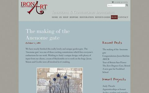 Screenshot of Blog ironart.co.uk - Blog | Ironart of Bath | Traditional & Contemporary Ironworkers based in Bath: Beautiful metal garden furniture, railings and bespoke structures, handmade in wrought iron. - captured Oct. 6, 2014
