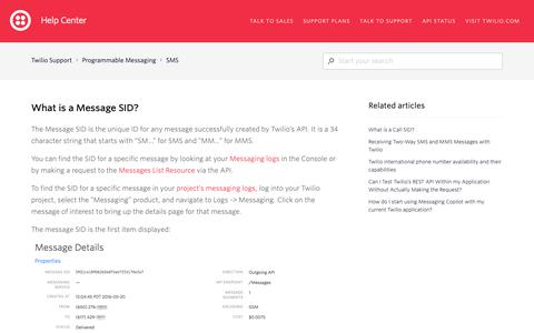 Screenshot of Support Page twilio.com - What is a Message SID? – Twilio Support - captured June 13, 2019