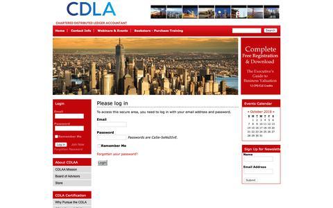 Screenshot of Login Page iacam.org - Chartered Distributed Ledger Accountant (CDLA) Association - captured Oct. 1, 2018