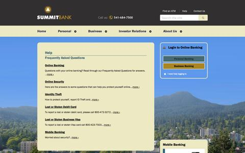 Screenshot of FAQ Page summitbankonline.com - Help - Frequently Asked Questions - Summit Bank Online - captured Oct. 7, 2014