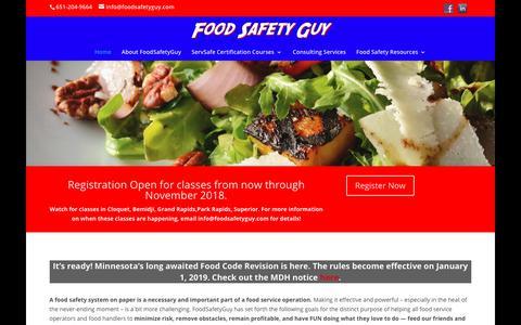Screenshot of Home Page foodsafetyguy.com - Home   Food Safety Guy - captured Sept. 25, 2018