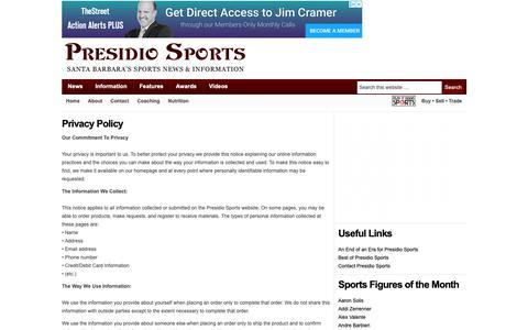 Screenshot of Privacy Page presidiosports.com - Privacy Policy — Presidio Sports - captured Nov. 11, 2018
