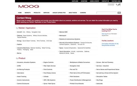 Screenshot of Contact Page moog.com - Contact Moog - captured Oct. 10, 2014