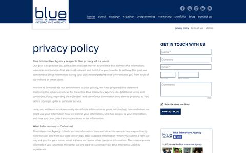 Screenshot of Privacy Page blueinteractiveagency.com - Privacy Policy - Blue Interactive Agency - captured Sept. 30, 2014
