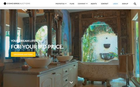 Screenshot of Home Page conciergeauctions.com - Real Estate | Luxury Home Auctions | Concierge Auctions | Concierge Auctions - captured Feb. 13, 2016