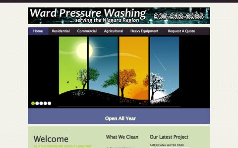 Screenshot of Home Page wardpressurewashing.com - Pressure Washing Service | Open All Year | Niagara | Wainfleet |Haldimand - captured Aug. 14, 2015