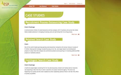 Screenshot of Case Studies Page taylor-strategy.com - Taylor Strategy Partners - Case Studies - captured Oct. 7, 2014