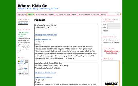 Screenshot of Products Page wherekidsgo.ca - Products — Where Kids Go - captured Oct. 2, 2014