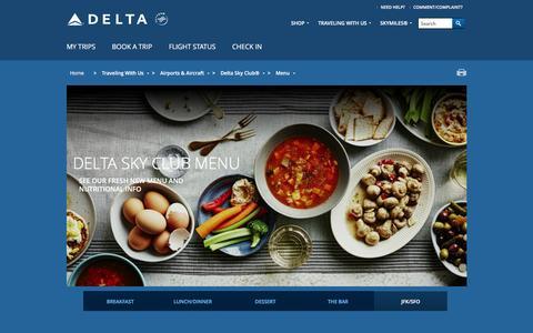 Screenshot of Menu Page delta.com - Menu - captured June 13, 2016
