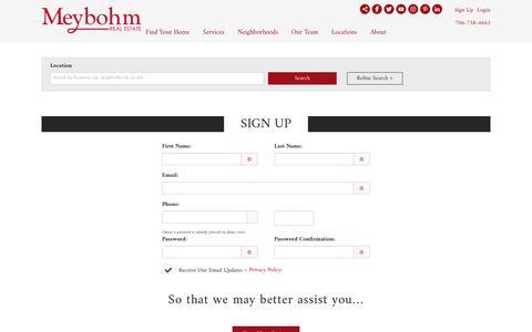 Screenshot of Signup Page meybohm.com - Sign Up - captured Oct. 18, 2018