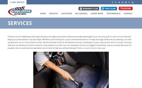 Screenshot of Services Page cobblestone.com - Auto Services | Cobblestone Auto Spa - captured Nov. 8, 2016