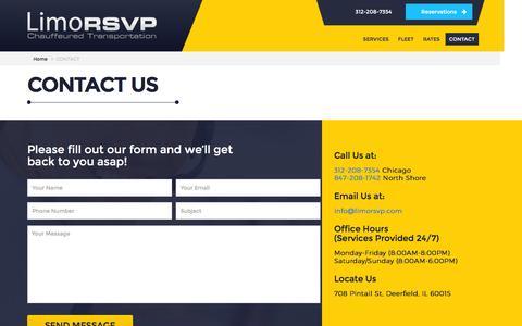 Screenshot of Contact Page limorsvp.com - Contact Us Today! | LimoRSVP, Inc. - captured Aug. 30, 2016