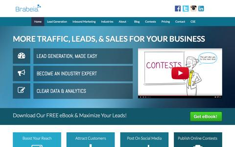 Screenshot of Home Page brabeia.com - Vancouver Inbound Marketing & Lead Generation Specialists - captured March 8, 2016