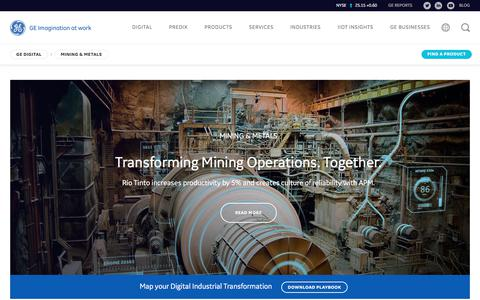 Screenshot of ge.com - Mining Software Solutions for the Industrial Internet | GE Digital - captured Sept. 1, 2017